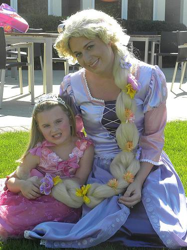 rapunzel visits girls 7th birthday party