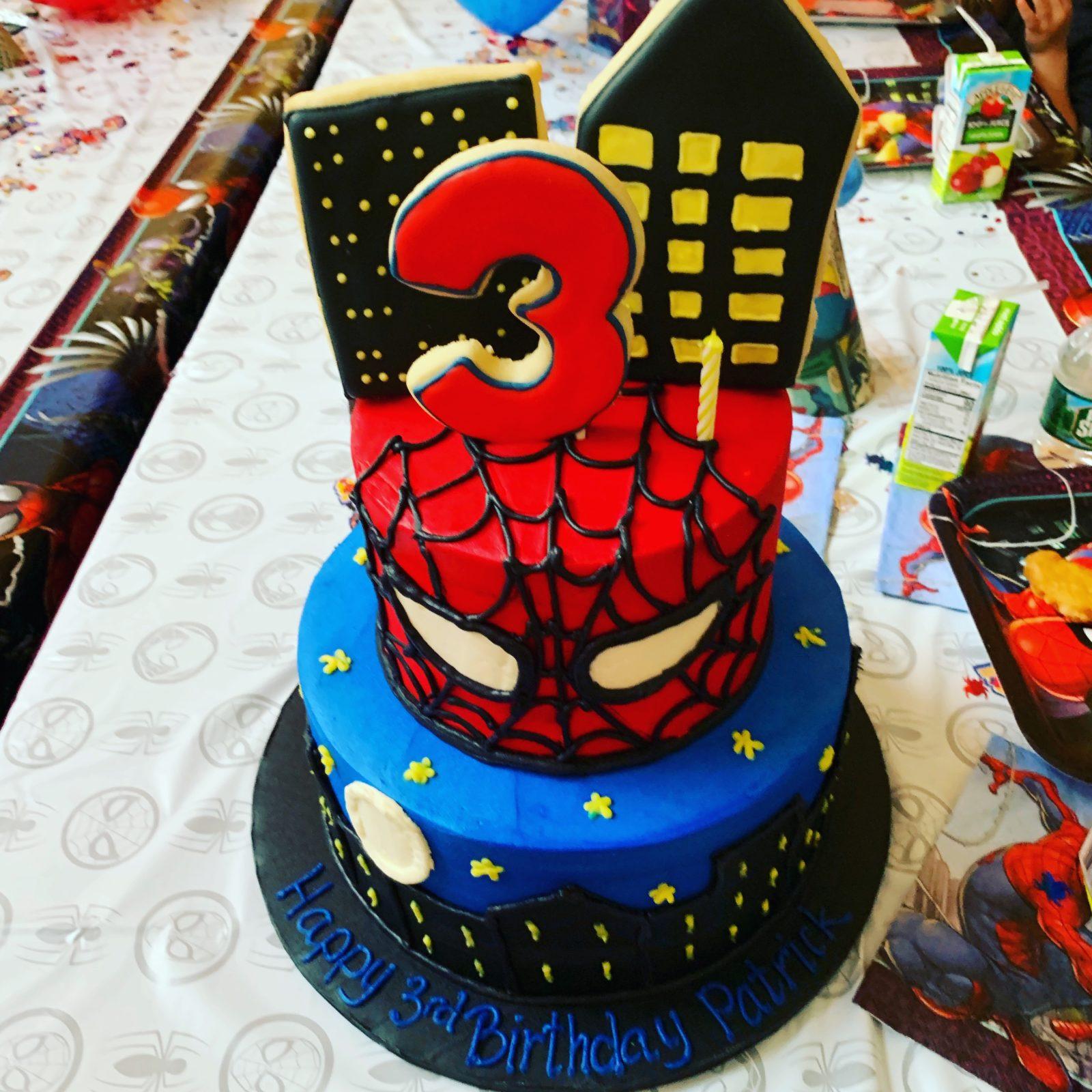 3 rd old spider man birthday cake