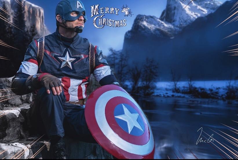 Captain America waits for Christmas
