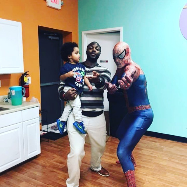 SpiderMan visits the little gym birthday party