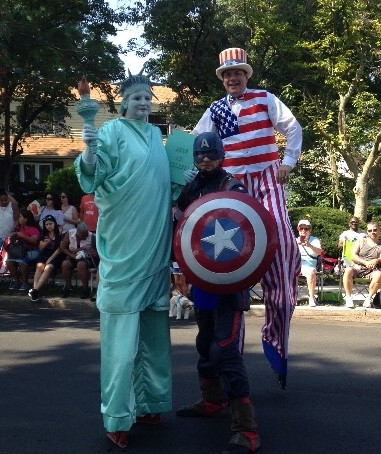 Captain America and the statue of America on Labor Day