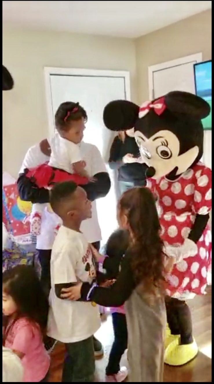 Mickey Mouse and Minnie Mouse at birthday Party