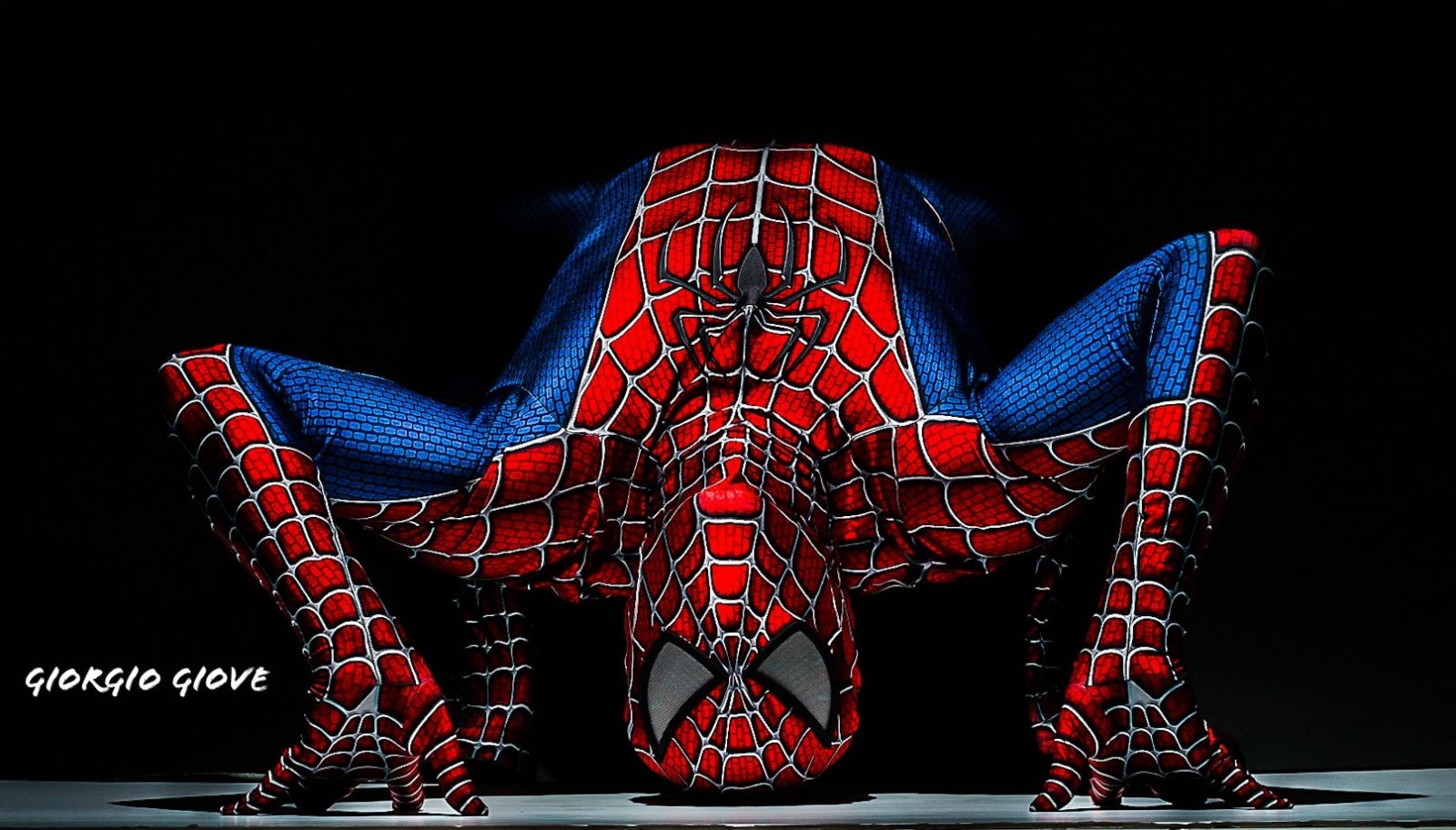Spiderman in arching pose