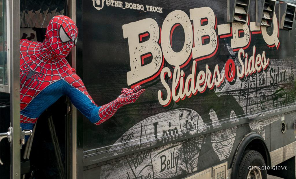 Spider Man driving food truck