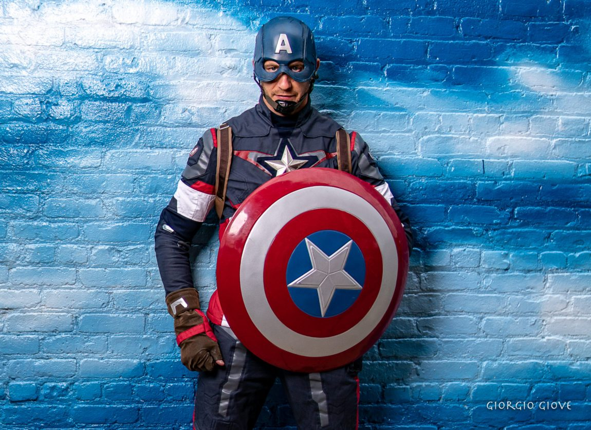 Captain America posing with shield