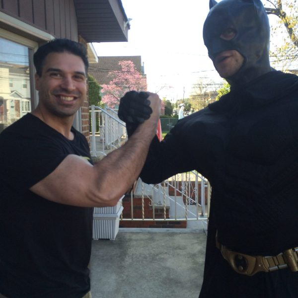 Batman showing some muscle