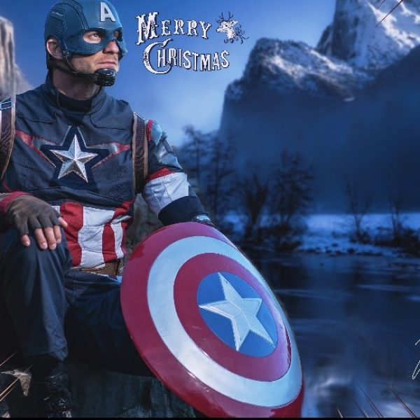 Captain America waits for Christmas