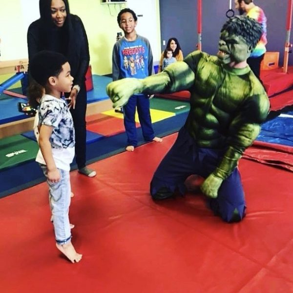 Hulk visits birthday boy