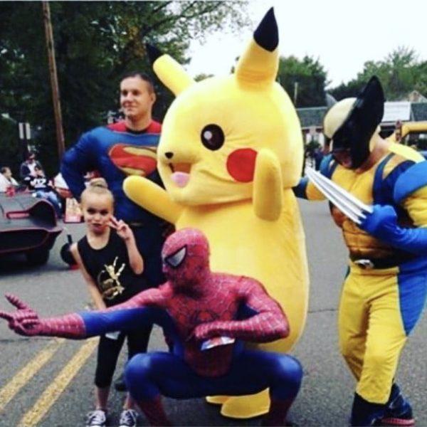 Pikachu,spider man,super man, wolverine
