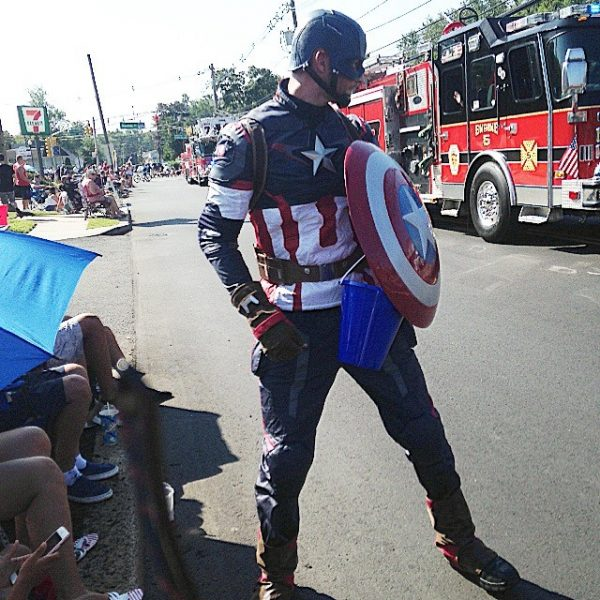 Captain America in the Labor Day Parade
