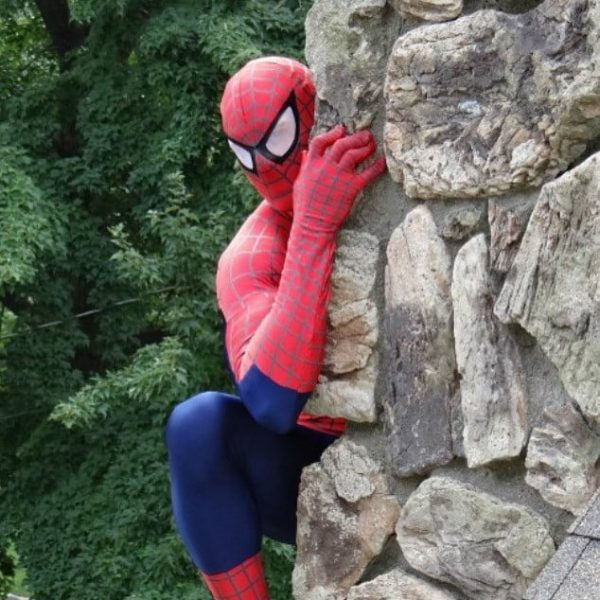 spider Man climbing chimney